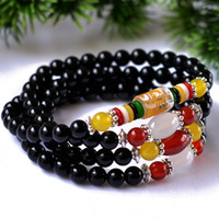 Wholesale New Natural Red or Black agate beaded bracelets Fashion MM beads bangles For women men Vintage jade jewelry HH031576