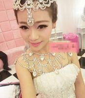 Earrings & Necklace Crystal rhinestone Alloy Wedding Bridal Bridesmaid Prom Ladies Crystal Rhinestone Jewelry Set Long Full Body Shoulder Chain Necklace Dresses Epaulet Jacket Collars