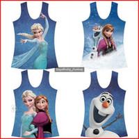 Girl Summer Standard Newest 10 Designs Frozen Elsa Anna Kids Sleeveless Shirt Frozen Costume Digital Printing Cartoon Vest Girl Top Frozen Tight Tee