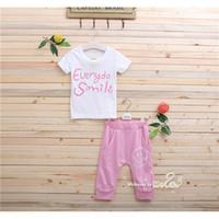 Girl 100% cotton shirt fabric - Fashion Children Sets Cotton Fabric Unisex Kids Suits T Shirt And Capris Summer Children Sets Letter Patterns MYTZ0002