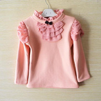 2014 nuovo bambino autunno pizzo vestiti di cotone burlone rende produttore T-shirt manica lunga fodera superiore del collo dell'indumento Turtle