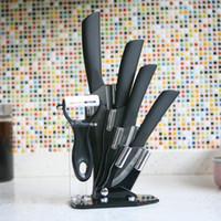 Wholesale Chinaware Ceramic Knife Set quot quot quot quot Black Ceramic Fruit Knife Set Peeler Holder Black Blade Kitchen Knives Brand Tool H017