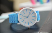 automatic alarm watch - 2014 fashion Christmas gift colors women men Genneva watch Silicone Rubber Hollow out needle Wristwatches jelly candy Quartz
