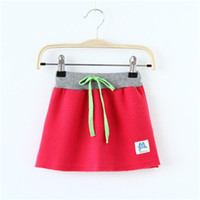 Summer Sheath Above Knee/Mini Candy Color Skirt Cotton Blends A line Girls Skirt With Pocket Cute Girls Skirt Solid Color MYBSQ0024