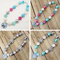 Wholesale 4 styles Chunky bubblegum kids Frozen Elsa Anna Olaf group Bottle cap pendant Necklace