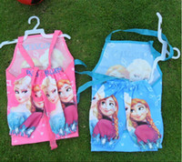 PVC kids aprons - Hot Frozen ELSA ANNA Printe Kids Childrens Cartoon Cooking Art Painting Smock Apron Set Sleeveless Aprons Oversleeves Pink BLUE