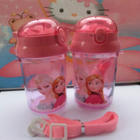 Wholesale frozen bottles cup sports water bottle with Plastic straws pocket hand strap elsa anna bottle children kid baby Pink cheap z