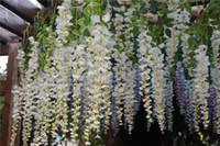 brand new silk flowers christmas - 24pcs silk wosteria flower rattans cm simulation fake wisteria flowers for wedding Christmas artificial decorative flowers