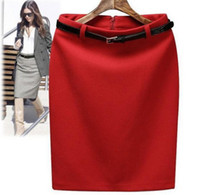 Wholesale Winter Autumn Fashion Vintage Women s High Waist Skirt Lady Women Pencil Skirt with Belt