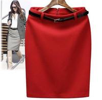 100% Wool belted pencil skirt - Winter Autumn Fashion Vintage Women s High Waist Skirt Lady Women Pencil Skirt with Belt