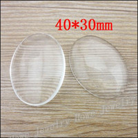 Wholesale 40 mm Good Quality Oval clear glass cabochons Frame pendant cover Fit necklace earring making