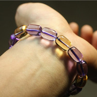 Slap & Snap Bracelets Women's Fashion New Natural Purple citrine beaded bracelets Fashion oval beads bangles For women Jewelry ornaments Birthday GIFT HHZHJ002