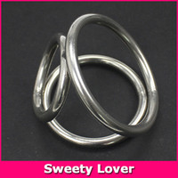 Steel Metal Cock Ring Sweety Lover Sex Proructs Metal Cock Ring New Triple Stainless Steel Metal Penis Cock Ball Stretcher Delay Ring Male Chastity Device Sex Toys