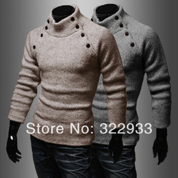 Wholesale Double row buttons knitwear fashion New Korean men s exclusive characteristics of business and leisure services O neck sweater