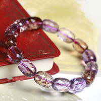 Slap & Snap Bracelets Women's Fashion Natural acura Purple citrine topaz facet type Chain beaded Bracelets & BanglesFashion Crystal Jewelry For women Brithday Gift