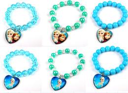 Wholesale Frozen children jewelry Ice snow beads bracelet Elsa Anna charm bracelets kids bracelet fashion jewelry JH