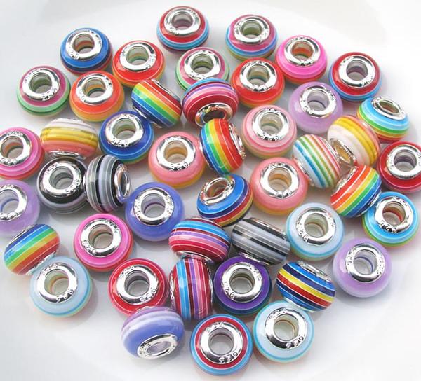 Новое хорошее качество 100 шт. Mix цвета 925 Core Stripe дизайн большое отверстие свободные фото