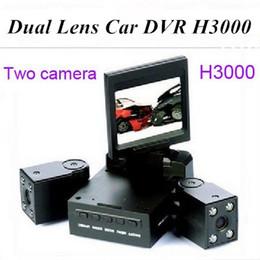 Dual Lens Car DVR H3000 2 Inch TFT 8 LED IR Night Vision Support Russian Car Camera Black Box Car Video Recorder