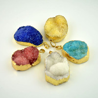 Wholesale 10X Gold plated Edge Mixed Color Druzy drusy quartz Bezel Pendant Finding