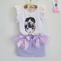 Wholesale 2014 Summer Children Girls Set Kids Clothing Puff Sleeve Butterfly Gauze Short Skirt Outfits Childs Bowkont Tank Tops Skirts Sets H1253