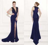 Reference Images V-Neck Chiffon 2015 SSJ Sleeveless Royal Blue Prom Dresses Tarik Ediz Mermaid Cheap Formal Evening Gowns babybride D2175