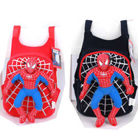 Wholesale spiderman Backpack kid child School bag Soft Plush Spider Man schoolbags Figure doll Toy X mas gift color