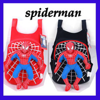 Wholesale EMS color kid child School bag spiderman Backpack Soft Plush Figure doll Toy X mas gift Spider Man schoolbags