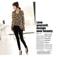 blouse free size - New Sexy Wild Leopard Printed Blouse For Womens Chiffon Top Loose Sheer Sizes M L XL XXL Free Drop Shipping G0158