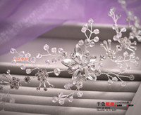Wholesale Frontlet Soft Brightly Colored Handmade Crystal Rhinestone Chain Korean Wedding Headdress Head Flower Hair Accessories For Wedding