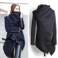 Wholesale Autumn Top Women s Slim Woolen Coat Black Irregular Zipper Pu Leather Edge New Women s Trench Coats Dust Wind Outwear LB021