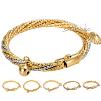 Bangle Fashion Bangles Wholesale-Frosted Rope 18K Silver Gold Filled Bangle Bracelet w Bell Heart Charms Babies Kids Childrens 18KGF Wholesale Jewelry GBM32