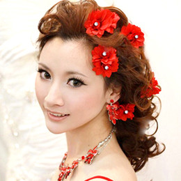 Orchids Colored Flower Head Flower Small Hairpin Diamond Wedding Dress Dance Headdress Hair Accessories
