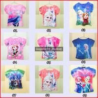 Girl Summer Standard 10 Designs Summer Frozen Korean Children Shirts Fashion Children Short Sleeves Cartoon Print Girl Casual Clothing Kids Frozen Tee