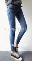 Wholesale denim jeans pant women fashion autunmn winter cotton pencil slim trouser washed skinny distressed blue long pant low waist