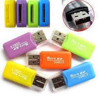Wholesale USB T flash memory card reader micro SD card reader multicolor free choice