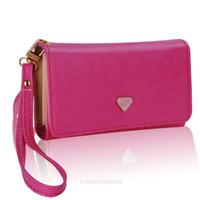Wholesale Lady Women PU Leather Zipper Handbag Wallet Clutch Purse Evening Bag Purse Phone Case Cover for iPhone4 S Samsung S2 S3 LB702
