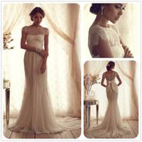 Wholesale Vintage Sheer Wedding Dresses Anna Campbell Lace Bateau Neckline Cap Sleeves Court Train Transparent Mermaid Long Bridal Gowns dhyz