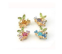 Other Fashion Hairwear Free Shipping 5pcs lot Small Size Rhinestone Hair Accessories Crystal Hair Clamp Claw E039