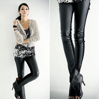 Faux Fur leather pants leggings - Sexy Women Faux Leather Stretch High Waist Leggings Pants Tights DH04