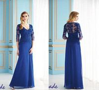 Reference Images dhg - V Neck dhg Long Sleeves Mother of the Bride Groom Dresses Chiffon Blue Long Evening Gowns Formal Dress For Wedding Bridal SK