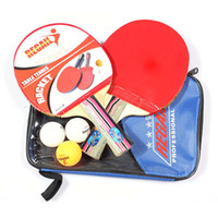 Wholesale Table Tennis Set Racket Ball Racket Pouch Long Handle Shake hand Pingpong Paddle Balls Sports Accessories