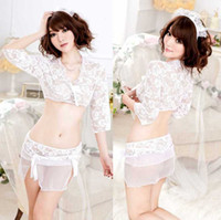 Sexy Costumes Animal Women Sleepwear X&Y443, 2Pc Women's Enticing Top and Crotchless Panty Set Lady's Sexy White Lingerie Thong Set