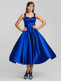2019 New Tea Length Party Dresses A-Line Plus Size Spaghetti Straps Royal Blue Ruched Satin Cocktail Prom Gowns For Women Formal Occasion