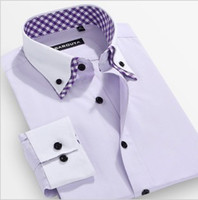 Dress Shirts Acetate Men New Arrival easy Care Fashion Color block Double layer Collar Dudalina Shirts Male Long-sleeve slim shirt+ 2014