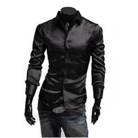 Casual Shirts Acetate Men Free Shipping New Man Shirts,Artificial Silk Casual Luxury Dress Stylish Shirts Purple,Black&Red M-XXL BC54+ 2014