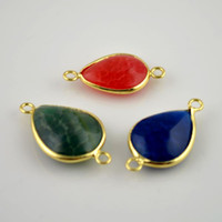 Wholesale Finding Gold Plated Edge Mixed Color Drops Shape Druzy Quartz Agate Connector Beads Stone