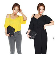 V-Neck Regular Acetate 2014 Korean Fashion Sexy strapless stylenanda single Ladies cotton short-sleeve T-shirt bottoming shirts Free Shipping T902