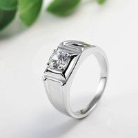 Wholesale Engagement Rings For Men Pure14K Solid White Gold Moissanite Certified Carat Round Brilliant Cut VVS H Party Gift