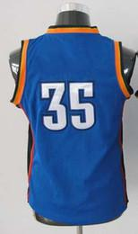 Top Quality ! Kids original Basketball Jerseys #35 Kevin Durant Blue White Youth Embroidery Logo Mix Order