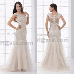 Wholesale 2014 Real Image Evening Dresses Bateau Neckline Sleeveless Appliques Beaded Sweep Train Sheer Mermaid Prom Dresses M155 dhyz